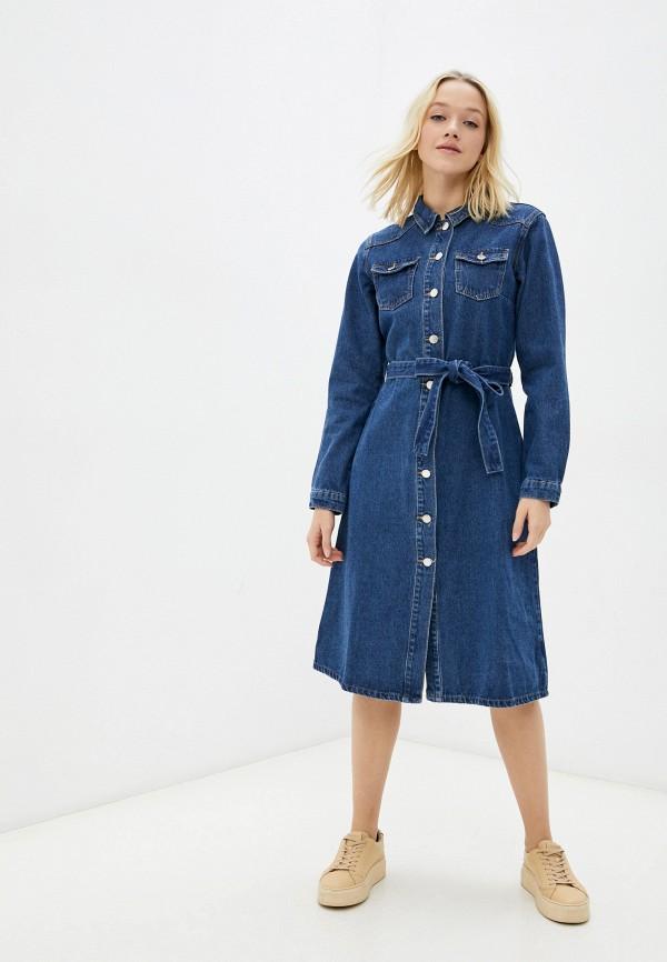 женское джинсовые платье zolla, синее