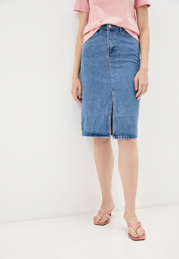 женская джинсовые юбка mark formelle, голубая