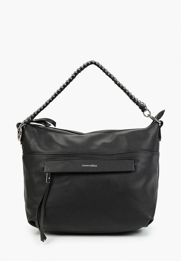 женская сумка с ручками thomas munz, черная
