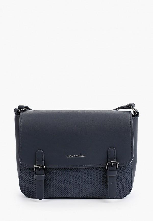 женская сумка через плечо thomas munz, синяя