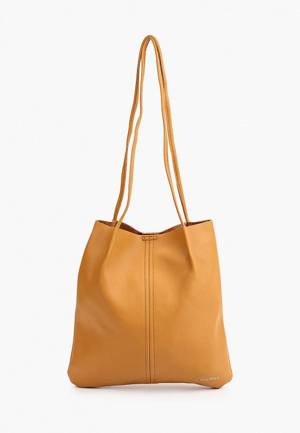 женская сумка-шоперы lolli l polli, коричневая