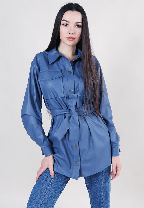 женская рубашка с длинным рукавом romashka, синяя