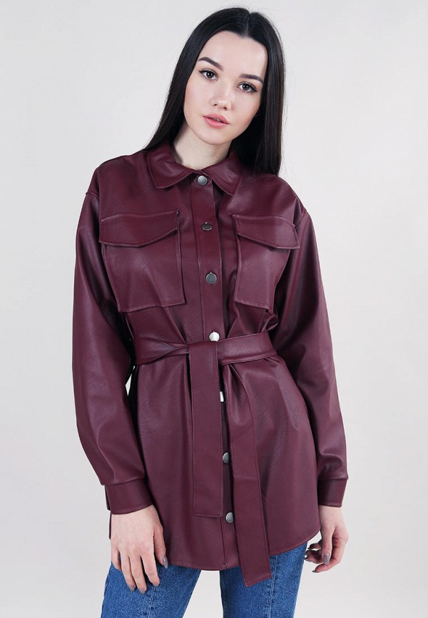 женская рубашка с длинным рукавом romashka, бордовая