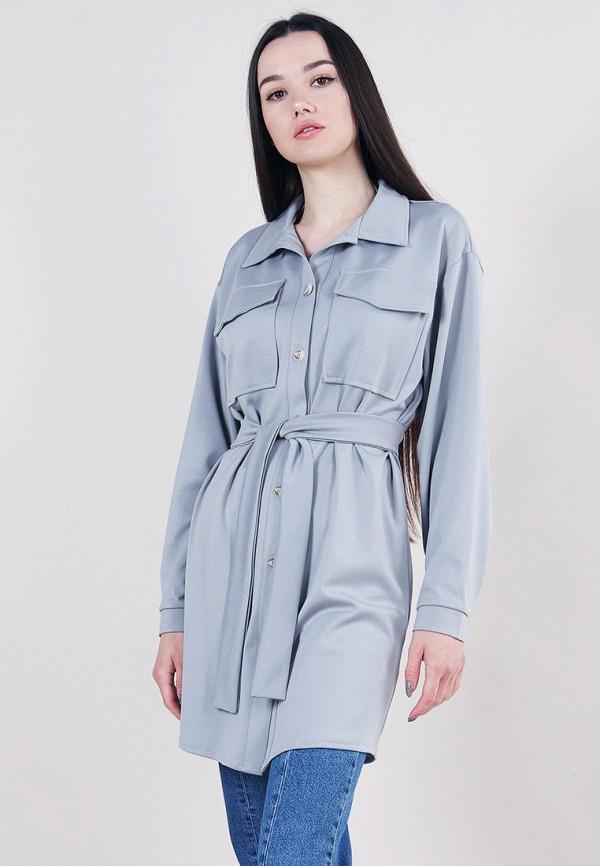 женская рубашка с длинным рукавом romashka, серая