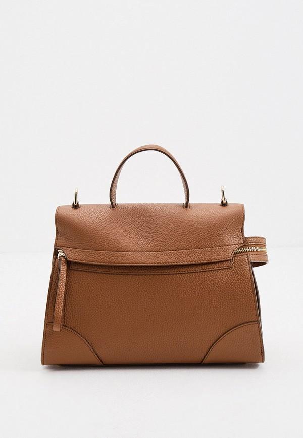 женская сумка с ручками furla, коричневая