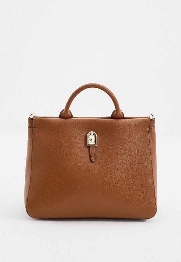 женская сумка-тоут furla, коричневая