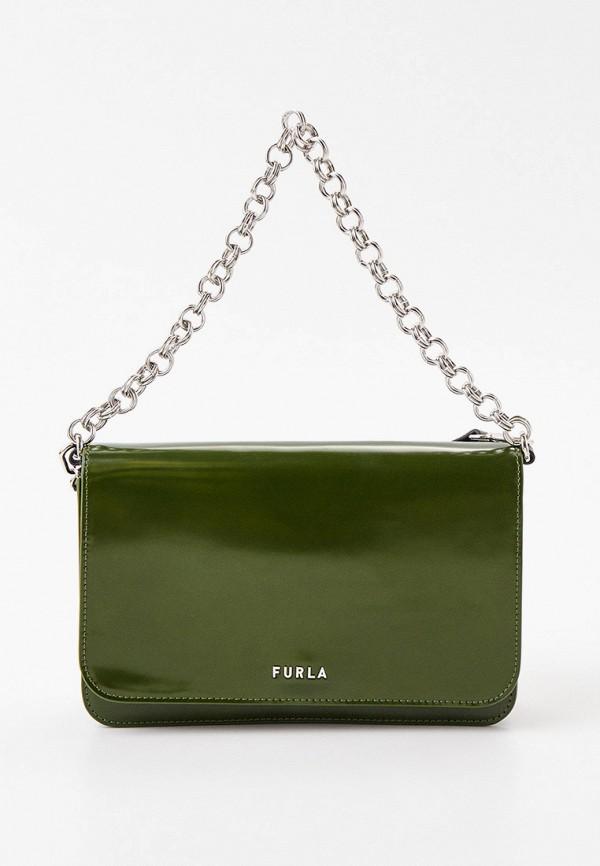 женская сумка с ручками furla, зеленая