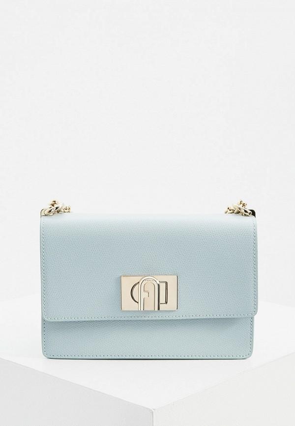 женская сумка через плечо furla, голубая
