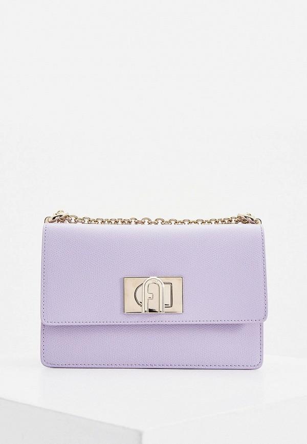 женская сумка-кроссбоди furla, фиолетовая