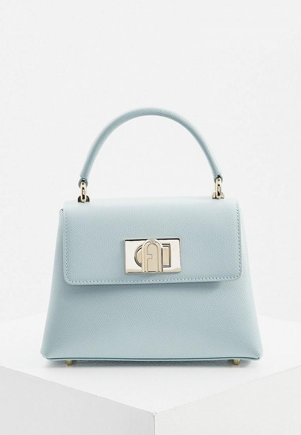 женская сумка с ручками furla, голубая