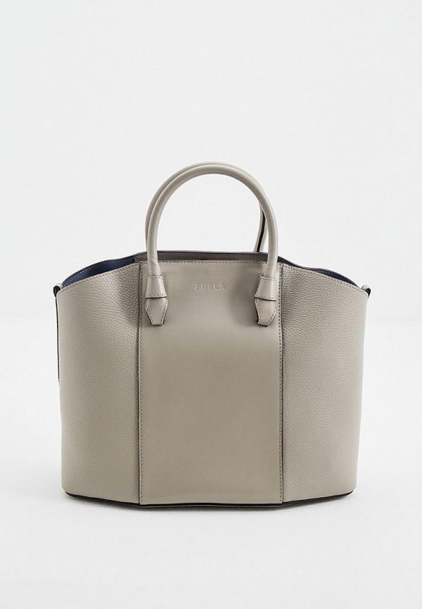 женская сумка-тоут furla, серая