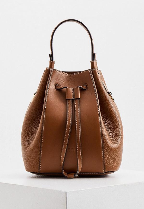 женская сумка-ведро furla, коричневая