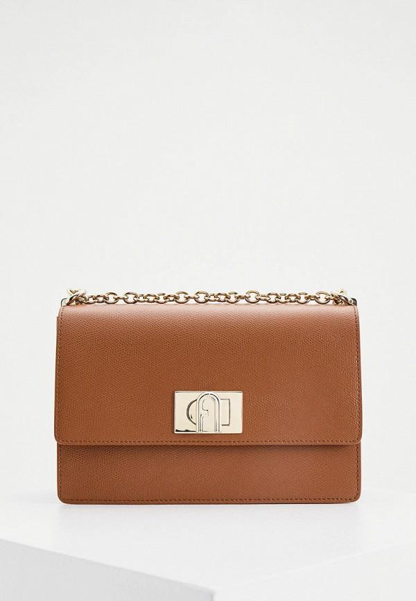 женская сумка-кроссбоди furla, коричневая