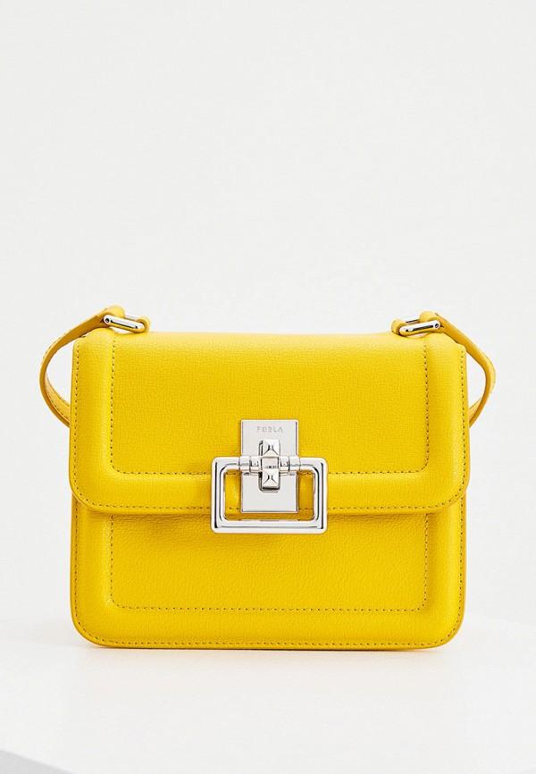 женская сумка через плечо furla, желтая