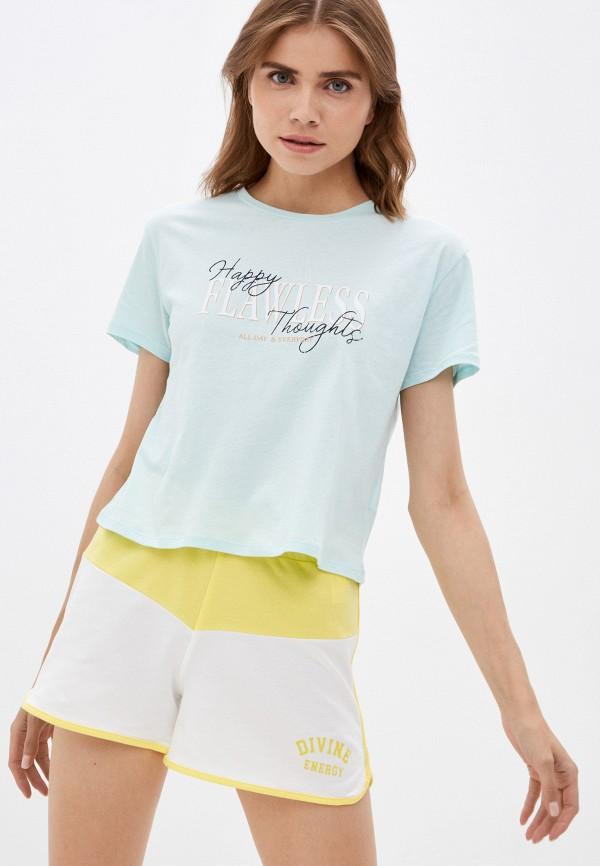 женская футболка colin's, бирюзовая