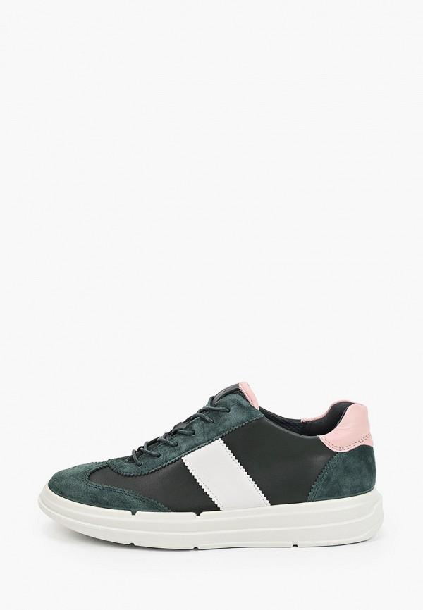 женские низкие кроссовки ecco, зеленые