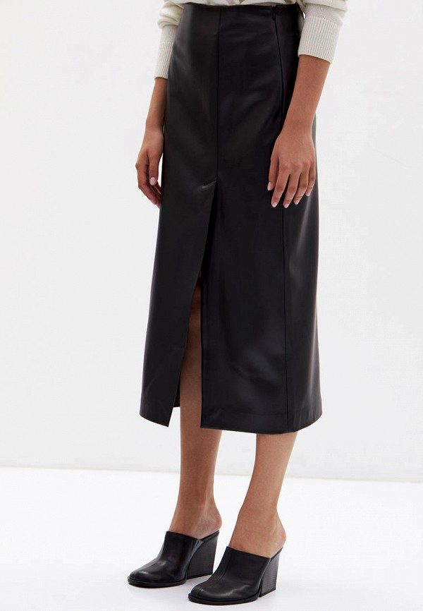 женская кожаные юбка lime, черная