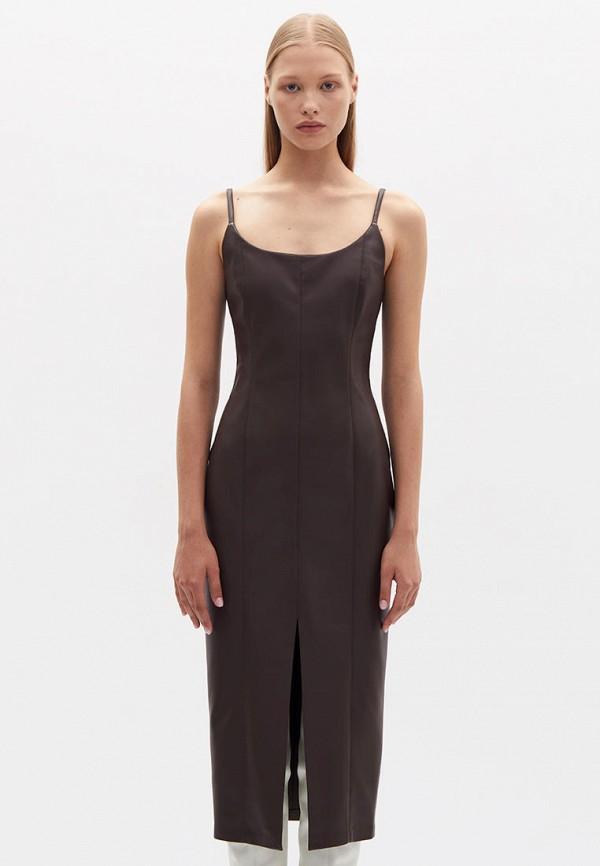 женское кожаные платье lime, коричневое