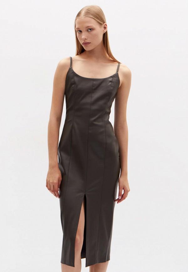 женское кожаные платье lime, хаки