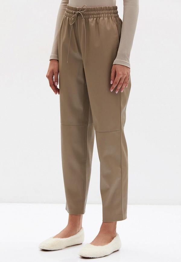 женские кожаные брюки lime, коричневые