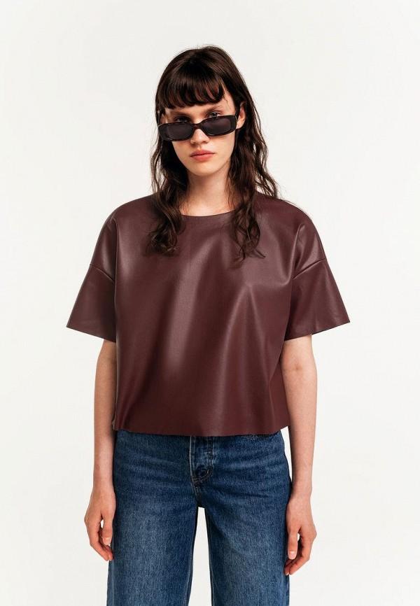 женская блузка с коротким рукавом befree, бордовая
