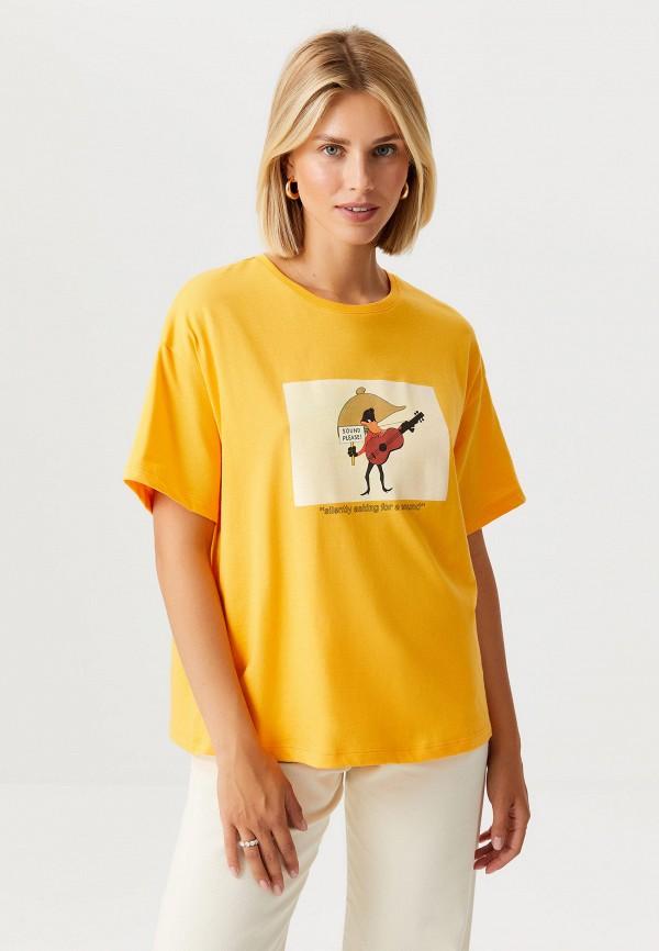 женская футболка sela, оранжевая