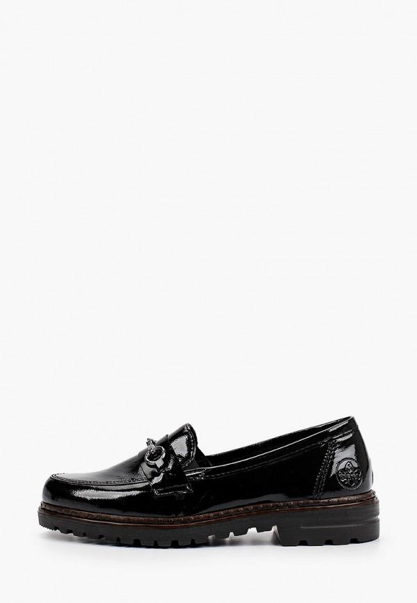 женские туфли с закрытым носом rieker, черные
