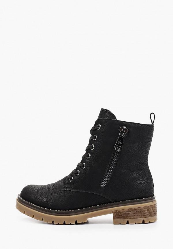 женские высокие ботинки rieker, черные