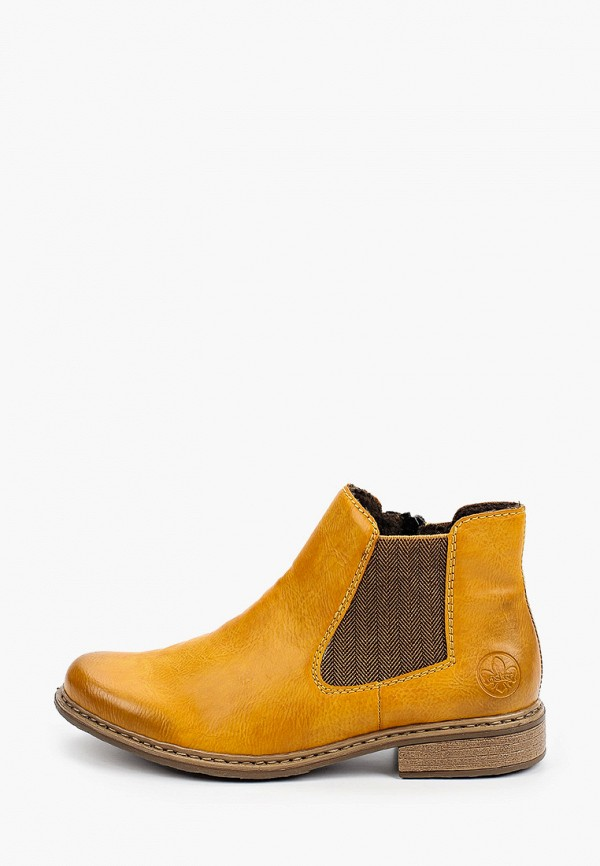 женские высокие ботинки rieker, желтые