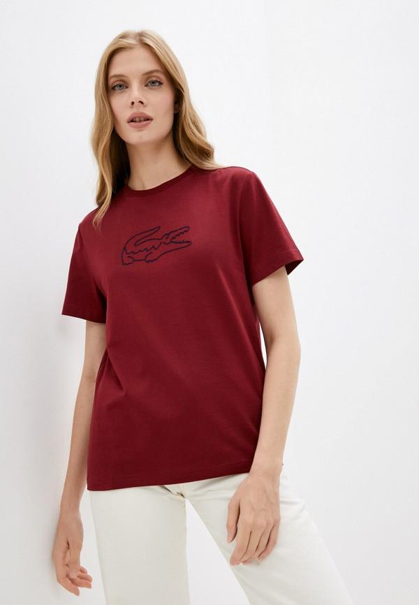 женская футболка lacoste, бордовая