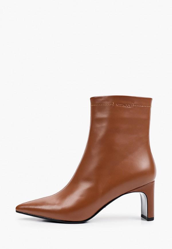 женские высокие ботильоны vitacci, коричневые
