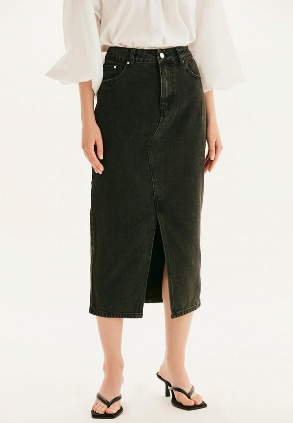 женская джинсовые юбка love republic, черная
