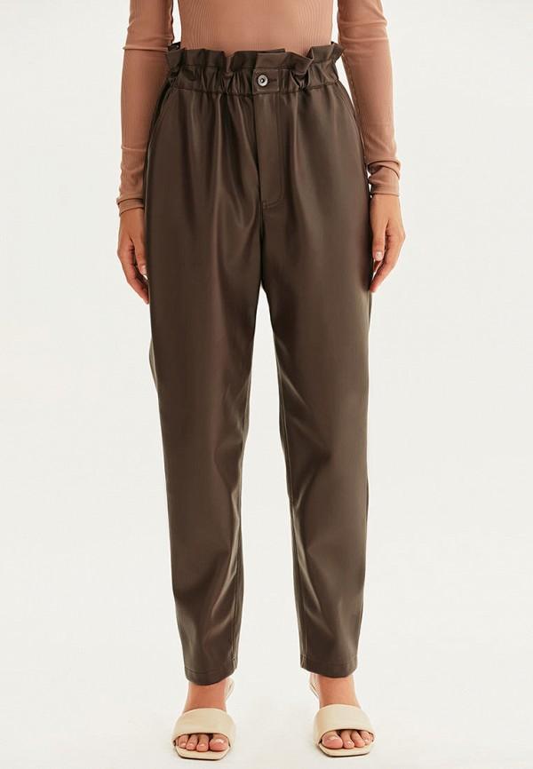 женские кожаные брюки love republic, коричневые