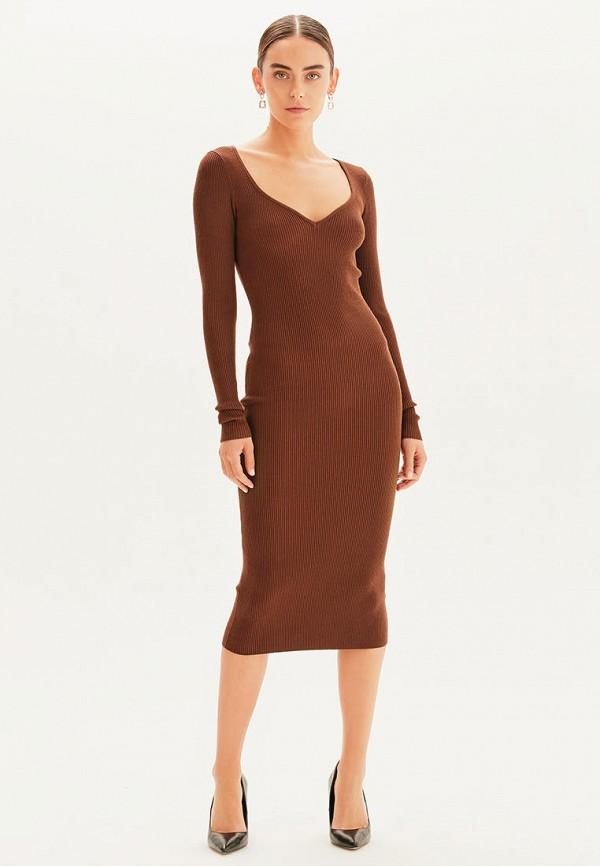 женское платье-свитеры love republic, коричневое