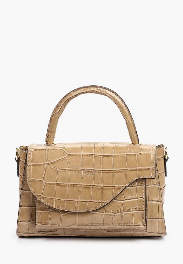 женская сумка с ручками franco frego, бежевая