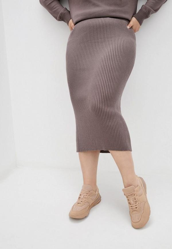женская зауженные юбка прованс, коричневая
