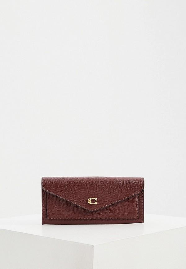 женский кошелёк coach, бордовый