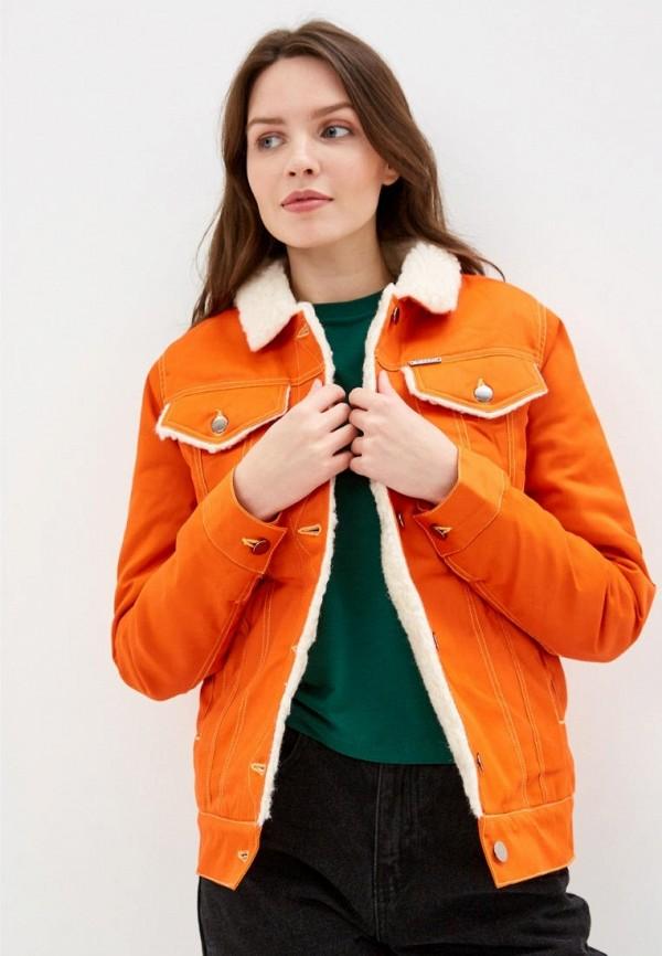 женская джинсовые куртка dasti, оранжевая