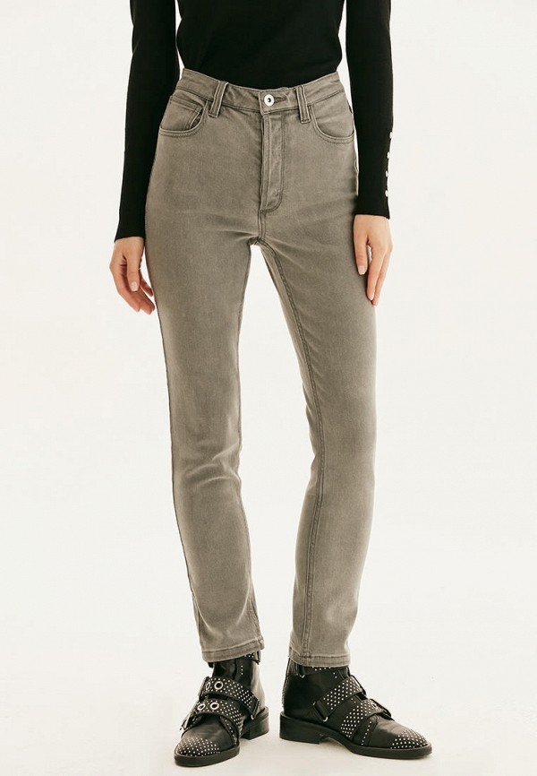 женские джинсы скинни love republic, серые