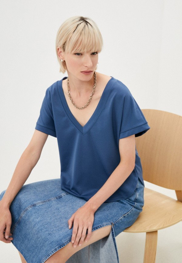 женская футболка baon, синяя