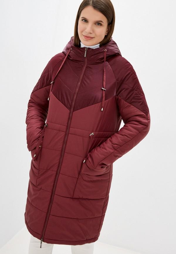 женская утепленные куртка dizzyway, бордовая