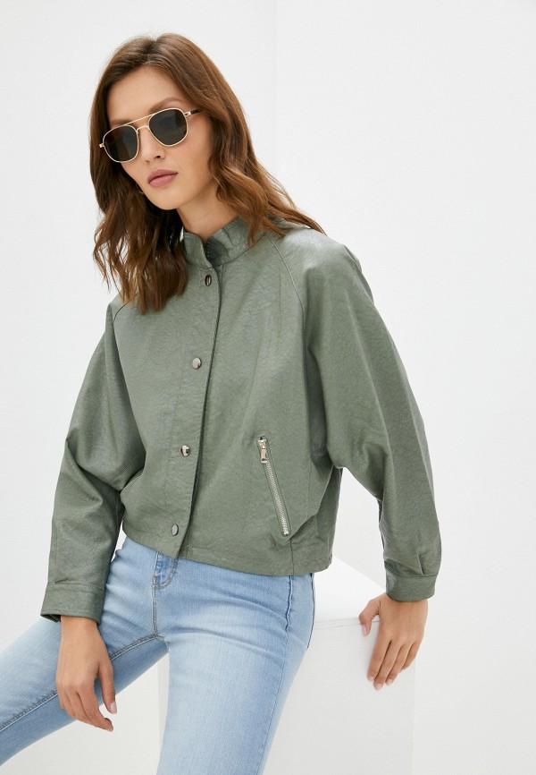 Куртка кожаная Grafinia зеленого цвета