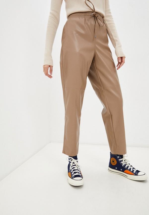 женские кожаные брюки baon, коричневые