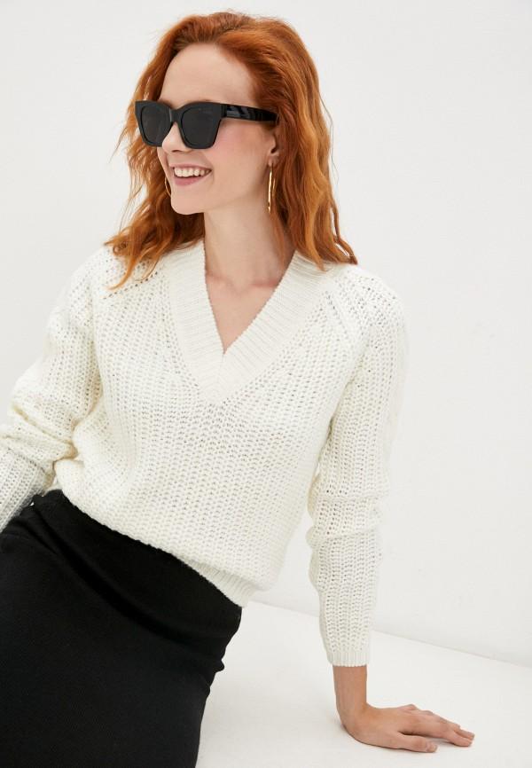 женский пуловер baon, белый