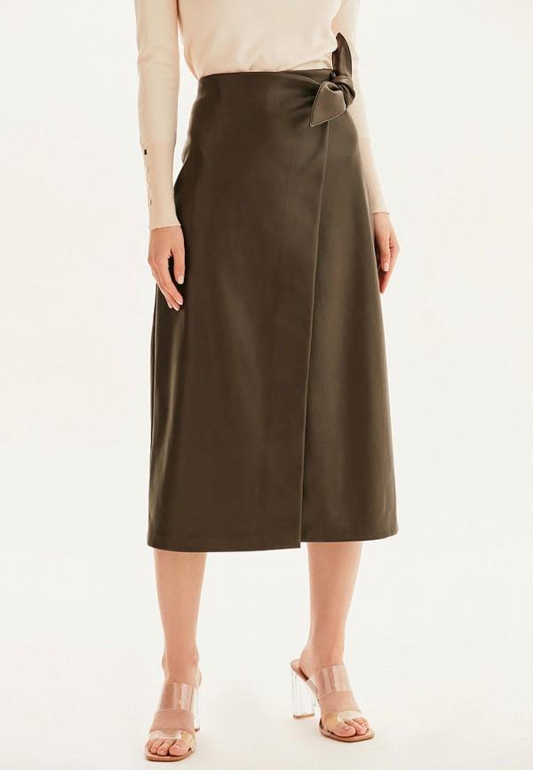 женская кожаные юбка love republic, коричневая