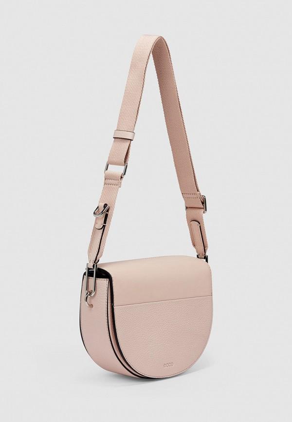 женская сумка через плечо ecco, розовая