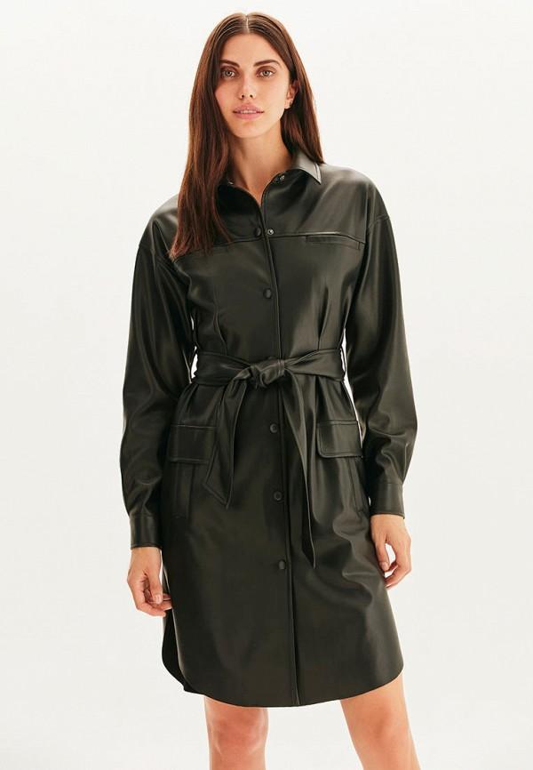женское кожаные платье love republic, черное