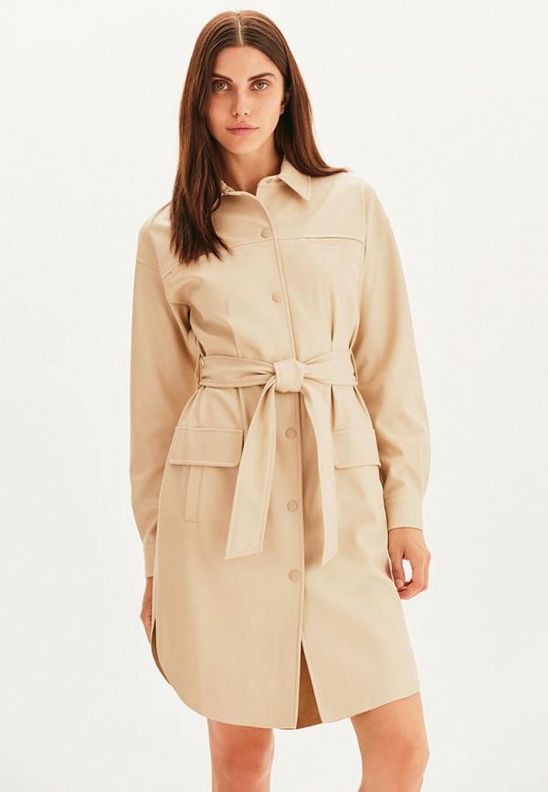 женское кожаные платье love republic, бежевое