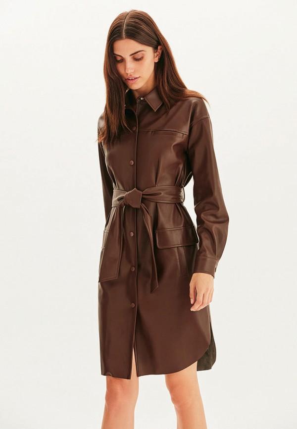 женское кожаные платье love republic, коричневое