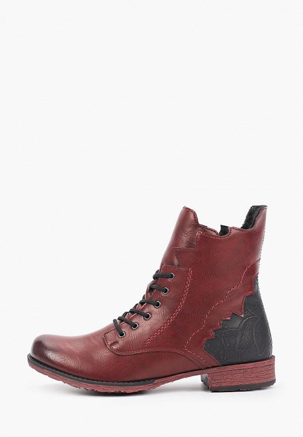 женские высокие ботинки rieker, бордовые